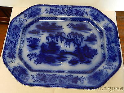 Antique c1840's Large Pearl Stone Flow Blue Platter MANILLA Asian Pattern PW&Co