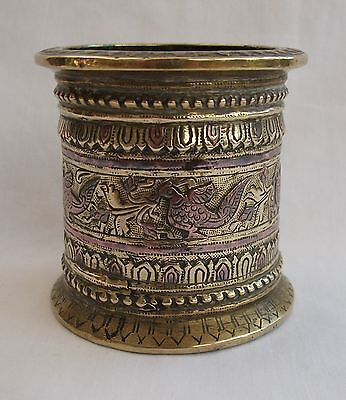 Antique Chinese / Tibetan Brass And Copper Inlaid Dragon Brush Pot