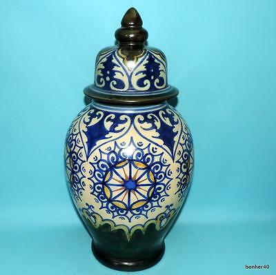 Rare Vintage Art-Crafts Gouda Zuid-Holland Dutch Folk Art Deco Covered Vase