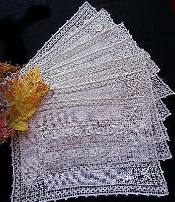 SET of 8 Vintage Italian Handmade Cream White Lace Placemats Excellent Condition