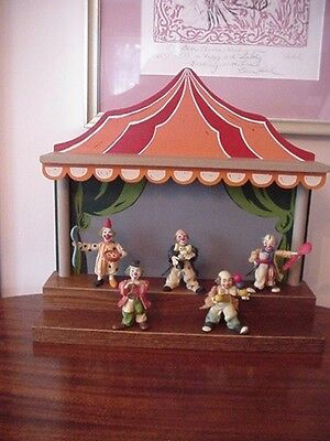 5 Anri Toriart Carnival Clown Collection W/ Wooden Carnival Stage