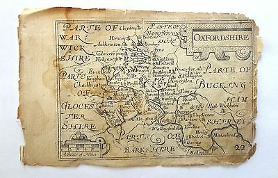 ANTIQUE MAP OF OXFORDSHIRE. 1600s WITH ACCOMPANYING COUNTY INFORMATION.