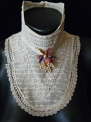 Antique Collar high neck combination of  Victorian laces with bones handmade.