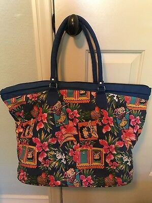 Vintage Betty Boop Bag! Large Blue Hawaiian Style Beach Shoulder Duffle Tote!