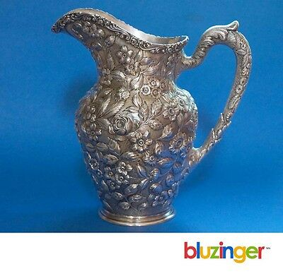 Important Baltimore Silversmiths (1903 - 1905) Sterling Silver Repousse Pitcher