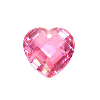 Large Cubic Zirconia Puffy Heart Pendant Bead 20mm #64326