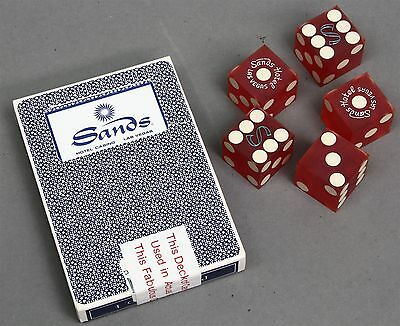 Lot of 5 Vintage SANDS HOTEL CASINO LAS VEGAS RED DICE plus Deck of Cards