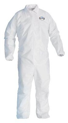 A40 Coveralls With Zipper, Disposable, Elastic Cuff, White- Case of 25 New