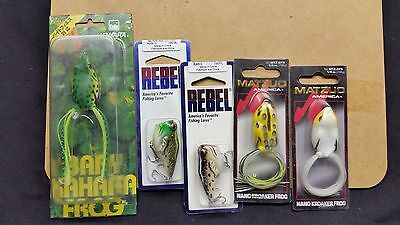 5 x ASSORTED TOPWATER FROG LURES