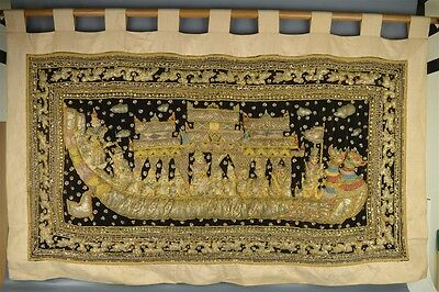 "X-Large Vintage Burmese Mixed Materials Kalaga Tapestry Sequin Glass 60"" x 34"""
