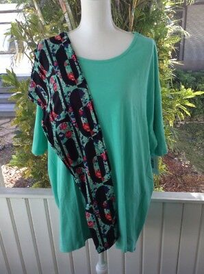 LuLaRoe  3XL Irma Solid Green TC Black Green Roses Leggings Outfit New Set of 2