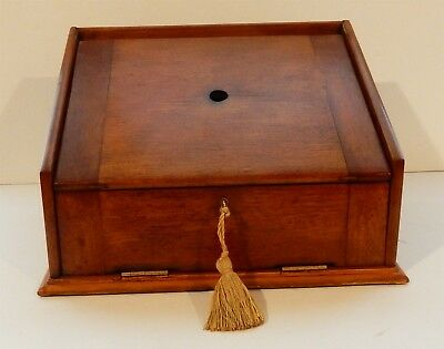 Antique English Walnut Sloped Drop Front Stationary Box