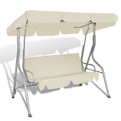 S# New Outdoor Hanging Swing Chair with a Canopy Sand White for 3 Persons Garden