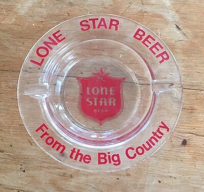 """Vintage Glass Lone Star """"From The Big Country"""" Beer Ashtray"""