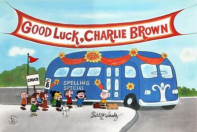 """PEANUTS """"Good Luck, Charlie Brown"""" *RARE* Hand Painted Ltd Ed CEL signed"""