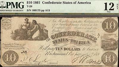 1861 $10 Dollar Bill Confederate States Currency Civil War Note Money T-28 Pmg