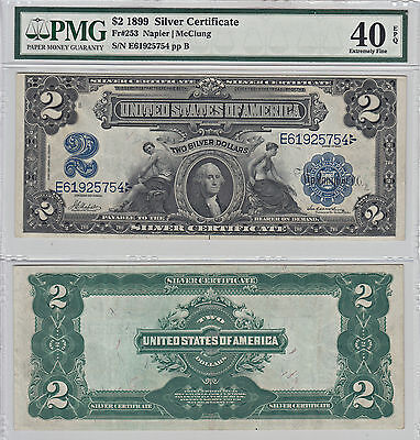 1899 $2 Silver Certificate Note F-253  PMG Extremely Fine-40 EPQ