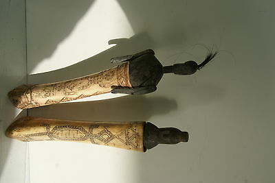 Old Dayak Shaman Bubalus Bone Detailed Scrimshaw Lime Betel Totem Container BN16