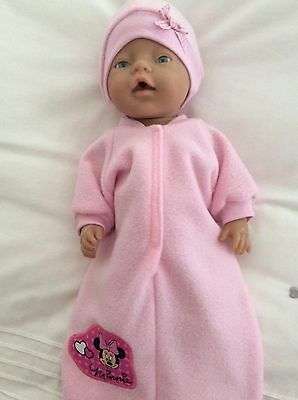 "Doll clothes - Sleeping Bag & Hat To Fit 17"" Baby Born DOLL - Pink Minnie Mouse"