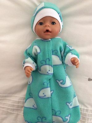 "Doll clothes - Sleeping Bag & Hat To Fit 17"" Baby Born Doll Boy Or Girl - Whales"