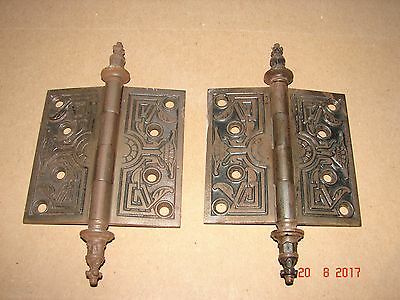 Pair of Ornate Antique Victorian Eastlake Steeple Top Brass Hinges 4X 4 Marked