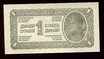 1943 Yugoslavia 1 Dinar Note - Soldier Carrying Rifle - Uncirculated
