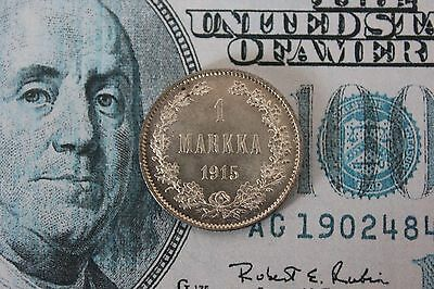 FINLAND 1 Markka 1915 S - Silver - Brilliant Uncirculated