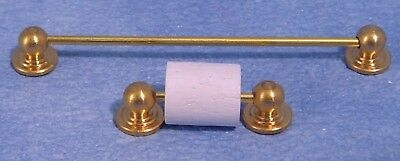 Dollshouse 1/12Th  Scale Brass Towel Rail & Toilet Roll