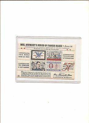 1940s advertising stamps Mrs. Stewart's series of famous blues #3