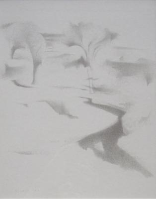 Earl Stroh New Mexico Modernist Art Stream Landscape Pencil Silverpoint Drawing