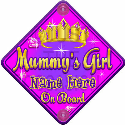 NEW Pink~ TORQ JEWEL MUMMY'S GIRL ~ Princess Personalised Baby on Board Car Sign
