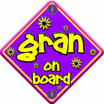 Non Personalised Purple & Pink ~ FLORAL GRAN ~ Baby on Board Car Window Sign
