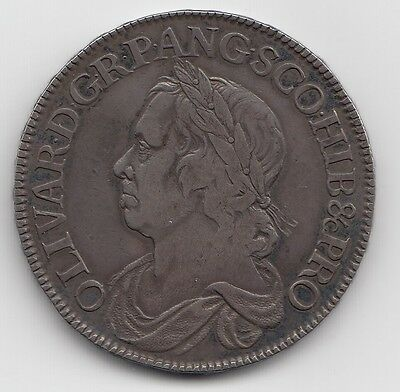RARE 1658 OLIVER CROMWELL CROWN 5/- Coin