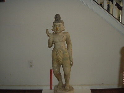 LUCKY 3 ft FEMALE WOODEN STATUE FROM UNKNOWN ORIGIN