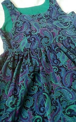 Superb 1970s 80s vintage retro purple paisley cord pinafore dress by GRINNS