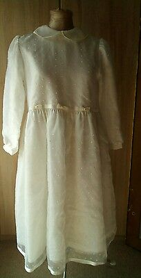 Adorable 1970s 80s white communion christening bridesmaid party prom dress 11 yr