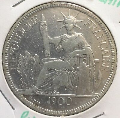 1900-A FRENCH INDO CHINA 1 Piastre Silver Crown Coin .900 fine