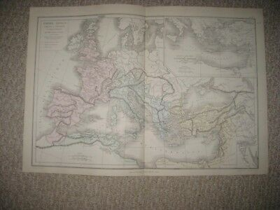 Superb Antique 1874 Roman Empire Europe Handcolr French Map France Germany Italy