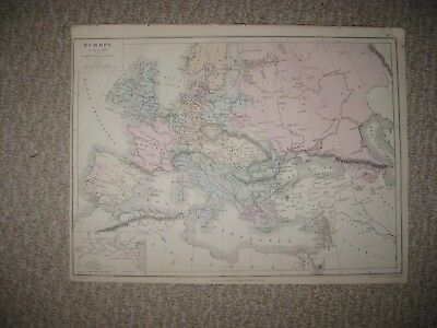 Superb Antique 1874 Europe 1815 1866 Handcolored French Map Russia Germany Italy