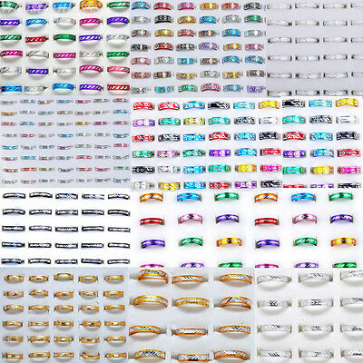 Wholesale 100pcs Jewelry Lots Bulk Mixed Coloured Style Aluminum Band Rings Gift