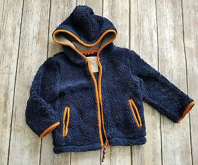 Mini Boden baby 2 3 year blue teddy zip through  hooded jacket AFP
