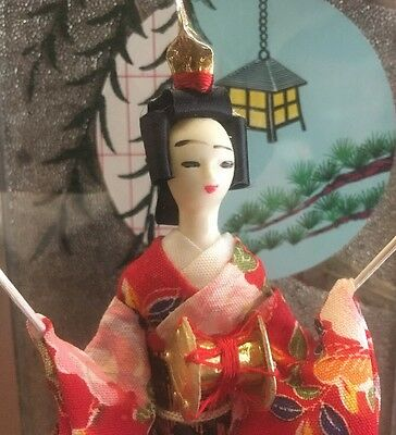 Vintage Japanese Kimono Petite Geisha Doll in glass / Wood case Made in Japan