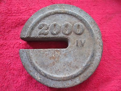 Antique 2000 Iv Cast Iron Hanging Platform Stacking Scale Counter Weight