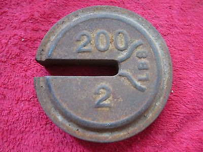 Antique 200 / 2 Lbs Cast Iron Hanging Platform Stacking Scale Counter Weight