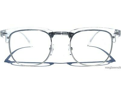 Half Frame Soho Transparent and Silver Retro Browline Style Clear Lens Glasses
