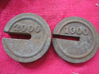 Antique 1000 & 2000 Iv Cast Iron Hanging Platform Stacking Scale Counter Weight