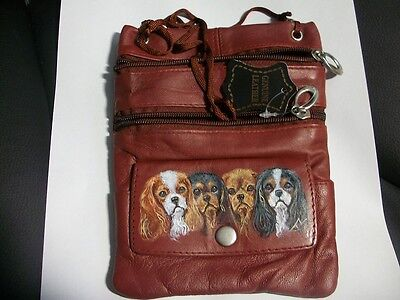 Hand Painted Cavalier King Charles  Passport ID Holder Neck Pouch cross body