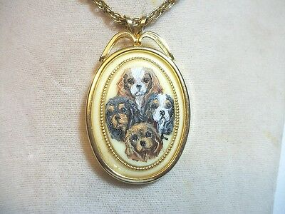 Hand Painted Cavalier King Charles Spaniel necklace Pendant