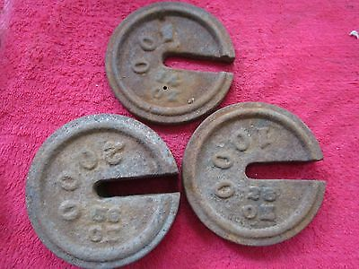 3 Antique 500,1000,2000 Cast Iron Hanging Platform Stacking Scale Counter Weight