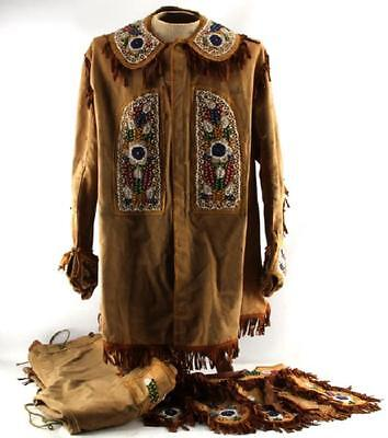 RARE NATIVE AMERICAN INDIAN BEADED Iroquois COMPLETE OUTFIT LATE1800s EARLY1900s